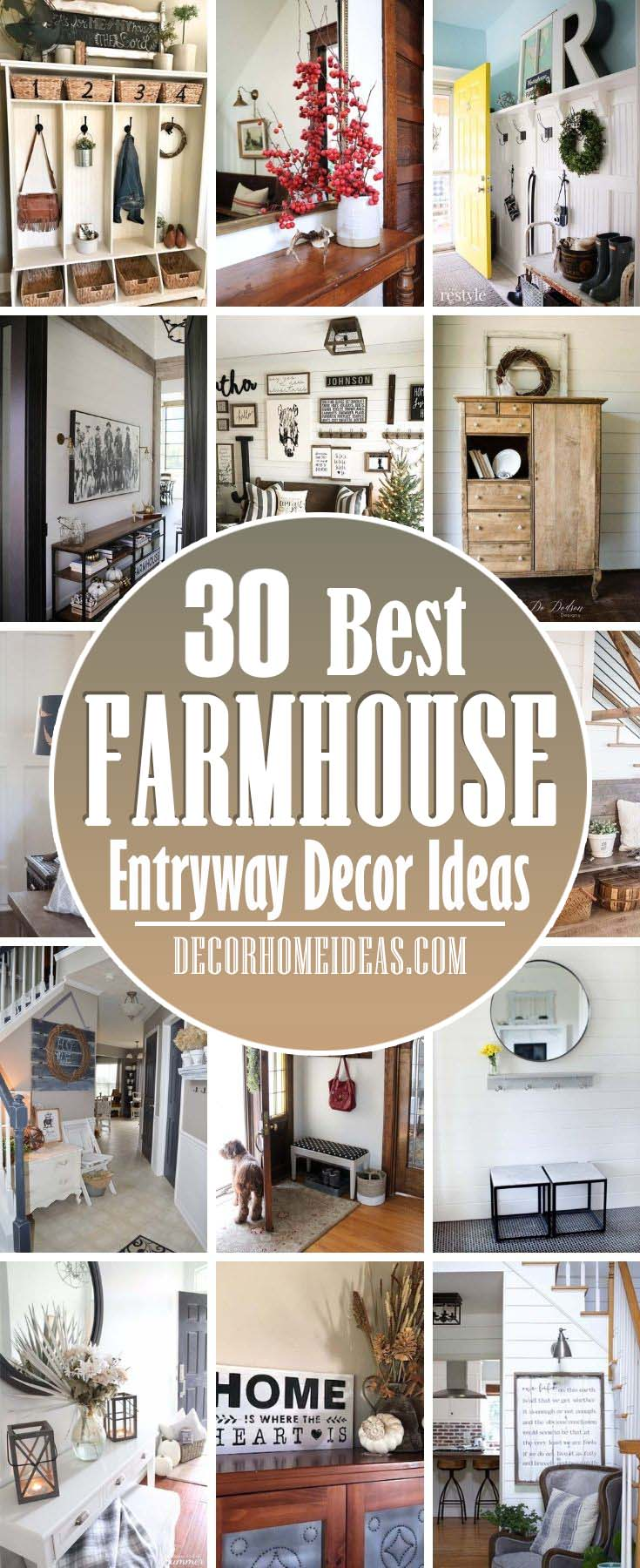 Best Farmhouse Entryway Decor Ideas. Get inspired by these warm and welcoming farmhouse entryway decorating ideas that will leave a lasting impression on your guests! #decorhomeideas