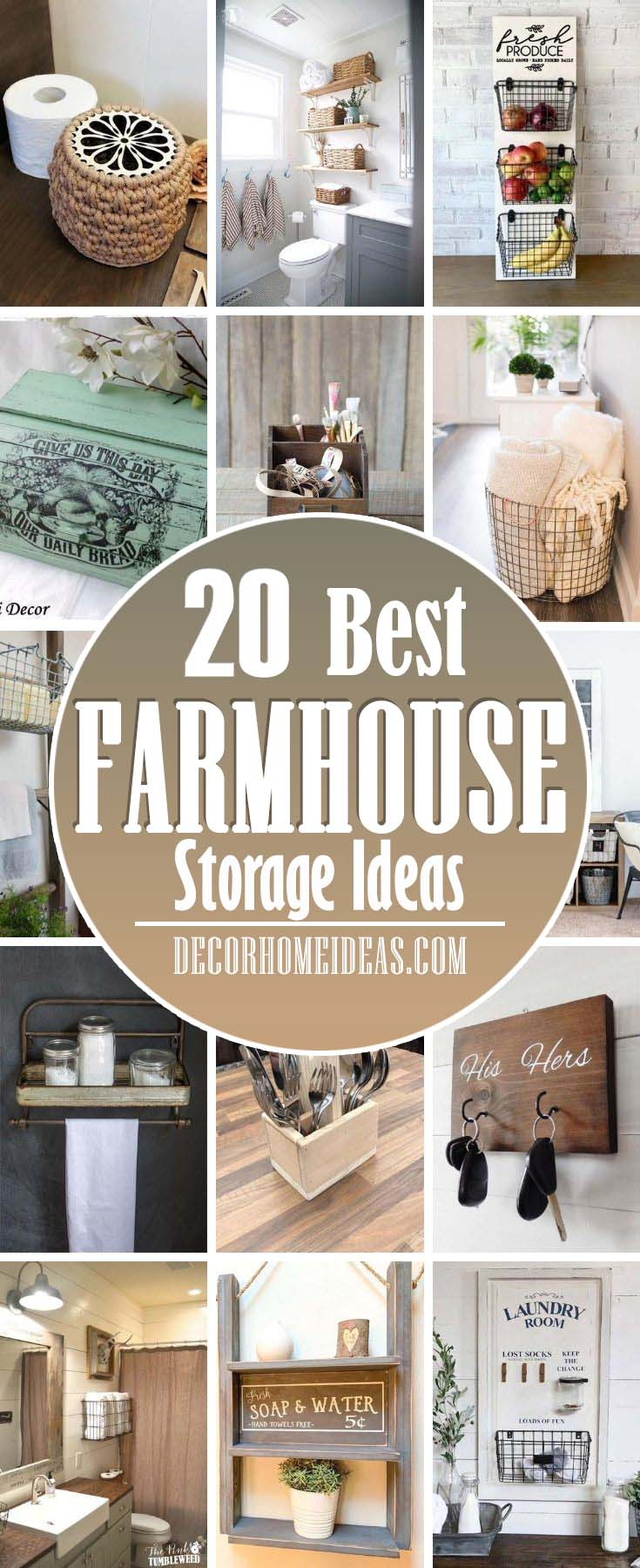 Best Farmhouse Storage Ideas. Give your storage solutions a rustic and antique makeover with these wonderful farmhouse storage ideas that are simple yet so chic. #decorhomeideas