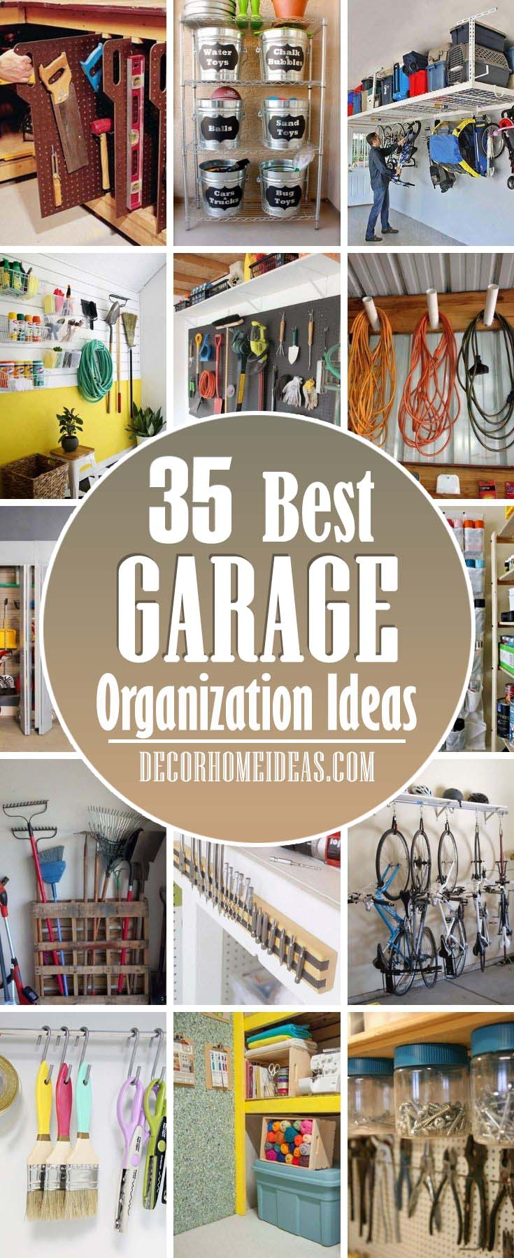Best Garage Organization Ideas. Make your garage a clutter-free area with these storage and shelving solutions for your tools, bikes, gear and more.  #decorhomeideas