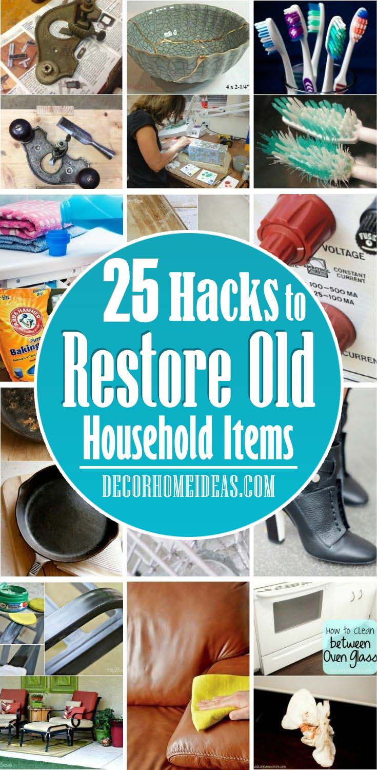 Best Hacks To Restore Old Items. If you don't want to throw out your old household items just yet, take a look at these ingenious hacks and restore them like new. #decorhomeideas