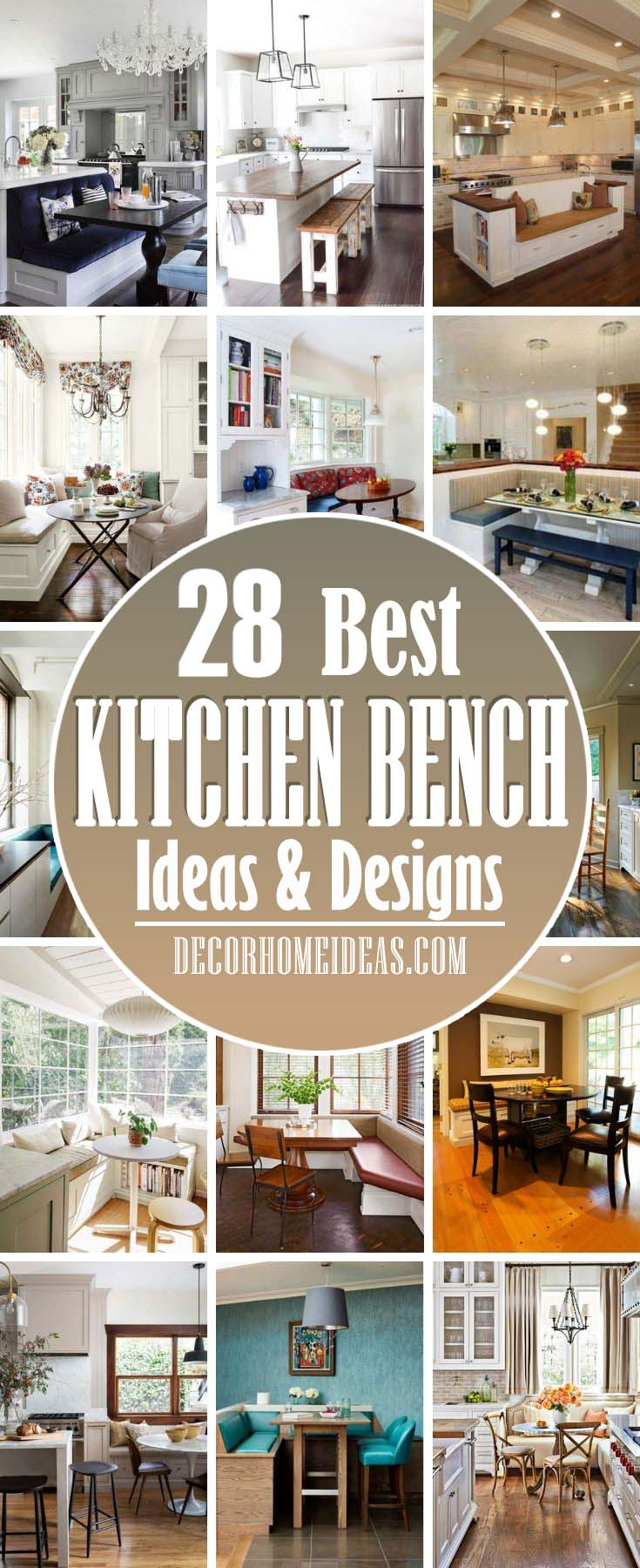 Best Kitchen Bench Ideas. Branches are perfect choice for small kitchens where there is no enough space for tables, bars or islands. They are perfect for family breakfasts or easy dining. #decorhomeideas