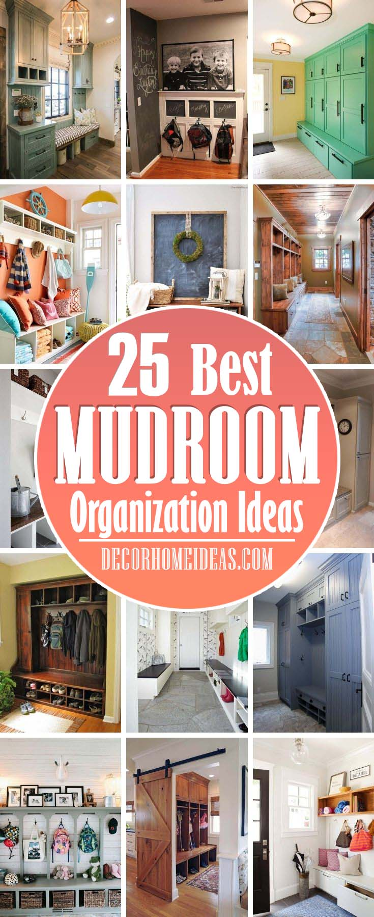 Best Mudroom Organization Ideas. The mudroom is the drop-zone for everything that comes in and goes out of the house. Set it up in the most functional way possible with these smart mudroom ideas and storage hacks. #decorhomeideas