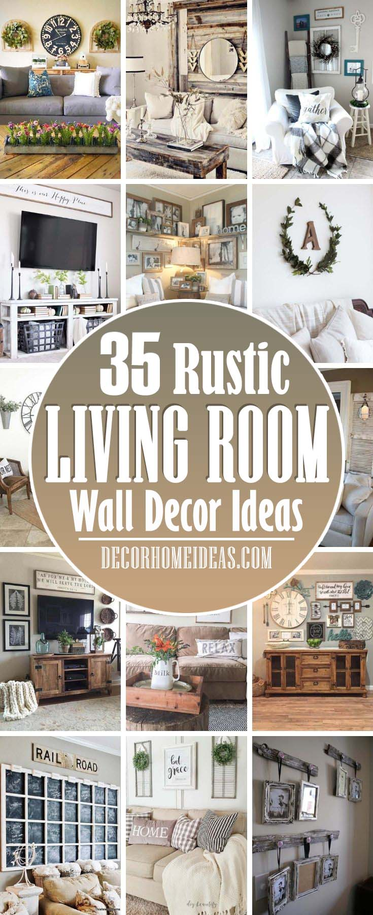Best Rustic Living Room Wall Decor Ideas. No matter which style of rustic decor you choose for your home, you'll be completely on-trend. Right now, the rustic decorating style is all the rage and isn't going out of style any time soon. #decorhomeideas