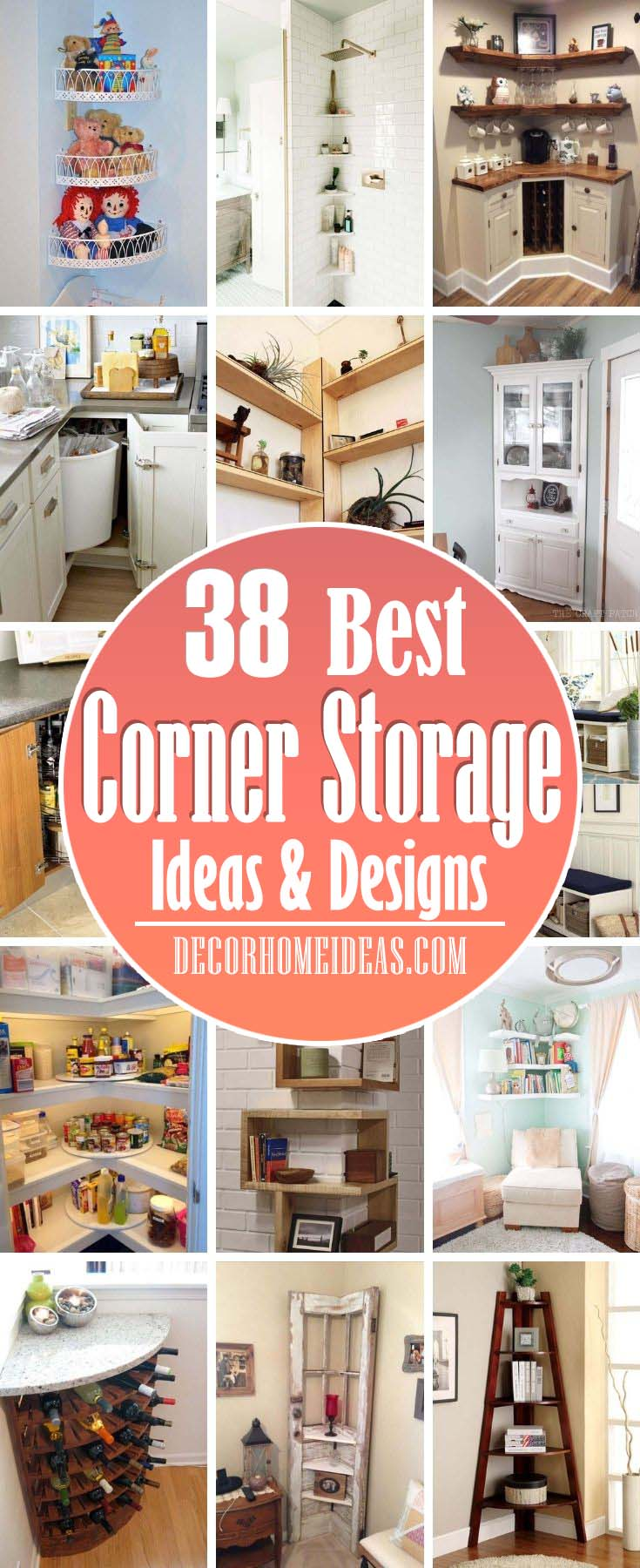 Best Space Saving Corner Storage Ideas. If your kitchen is small, it's essential to utilize every nook and cranny, including every corner. Rather than spending loads of money on professionally built cabinets, check out these DIY solutions to make the corners of your kitchen more functional. #decorhomeideas