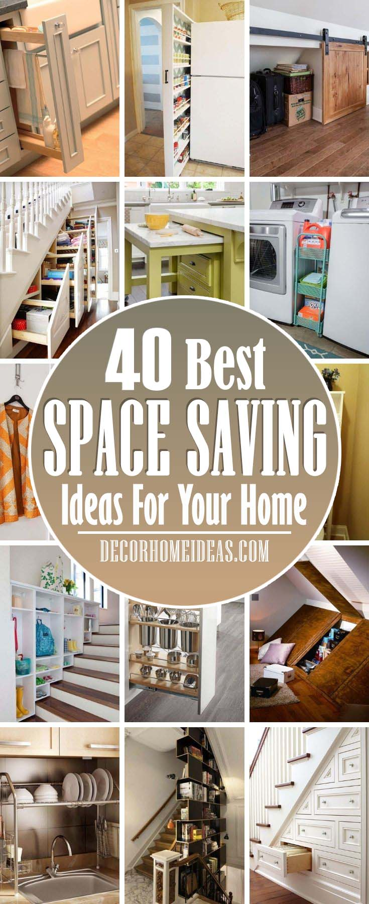 Best Space Saving Ideas. Saving space and organizing the mess at home is really easy with these ingenious space saving ideas. Quickly declutter and free up more space! #decorhomeideas