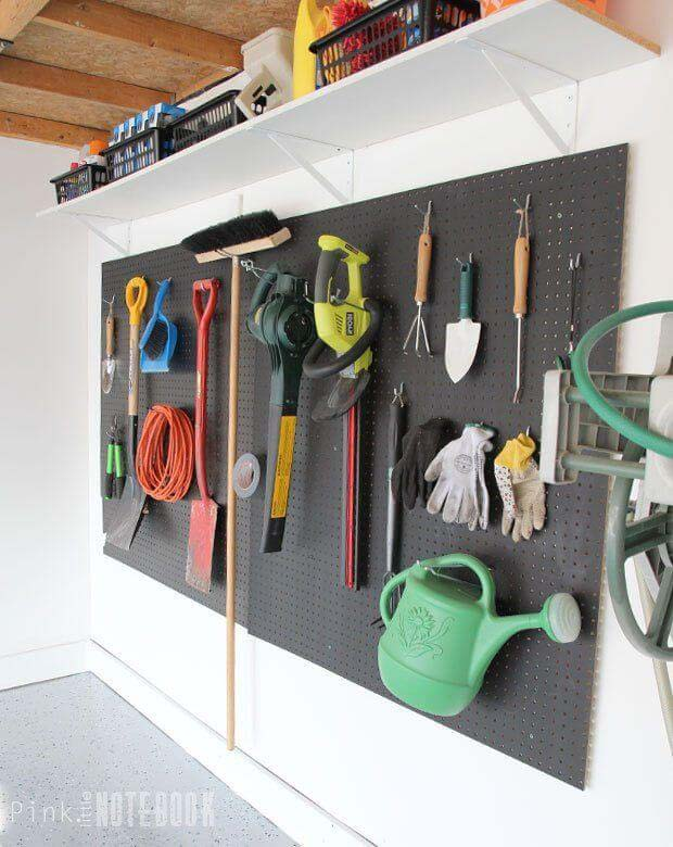 Black Pegboard Wall #garage #organization #declutter #decorhomeideas