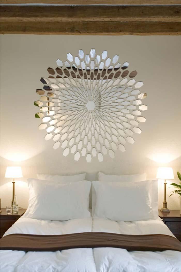 Bold Bedroom Mirrored Tile Centerpiece #mirror #decoration #decorhomeideas