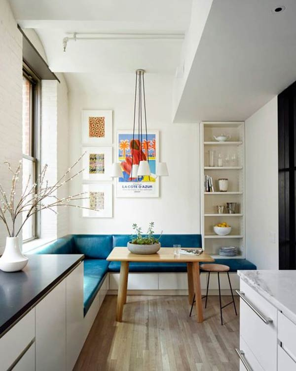 Brilliant Teal Upholstery Pops in a White Kitchen #kitchen #bench #decorhomeideas