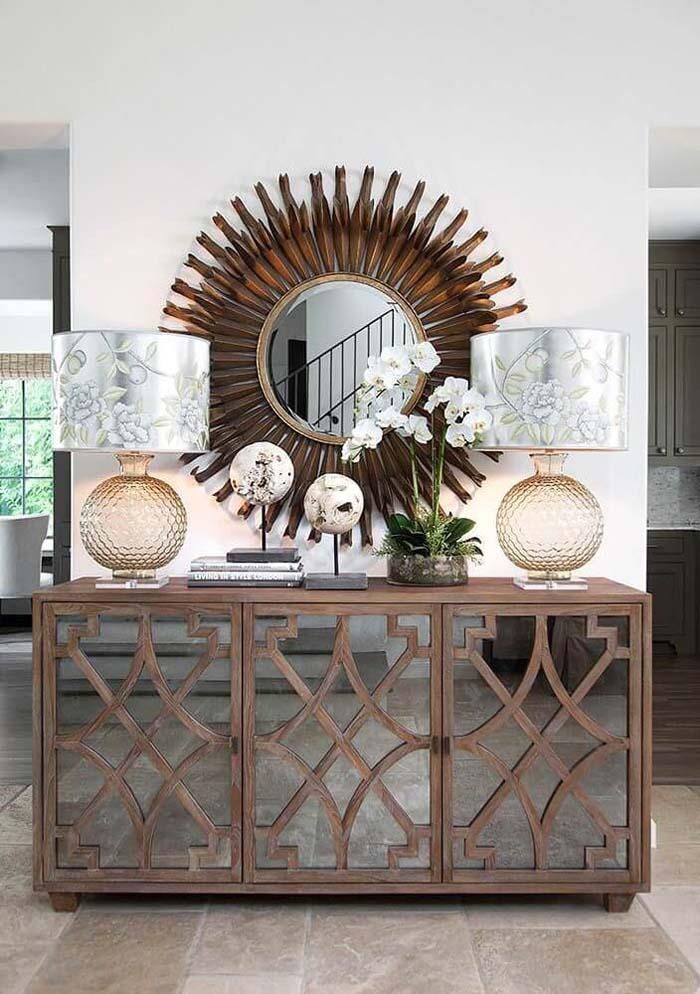 Bronze Sunburst and Mirrored Cabinets #mirror #decoration #decorhomeideas