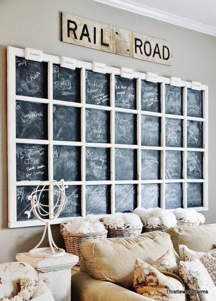 Chalkboard Family Schedule Grid on the Wall #rustic #livingroom #walldecor #decorhomeideas