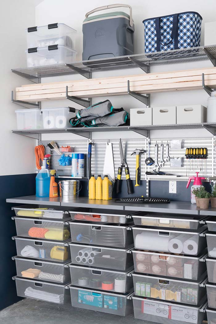 Clear Totes, a Workspace, and Extra Storage #garage #organization #declutter #decorhomeideas
