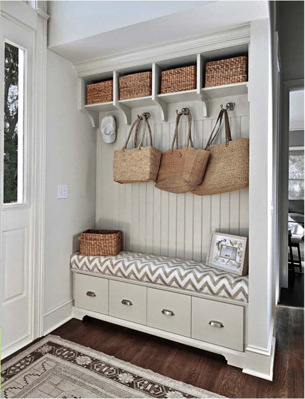 Clever Space Usage And Rattan Accents #storage #mudroom #organization #decorhomeideas