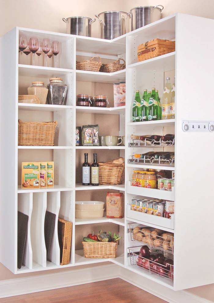 Corner Storage Idea for the Pantry Organization #storage #corner #organization #decorhomeideas