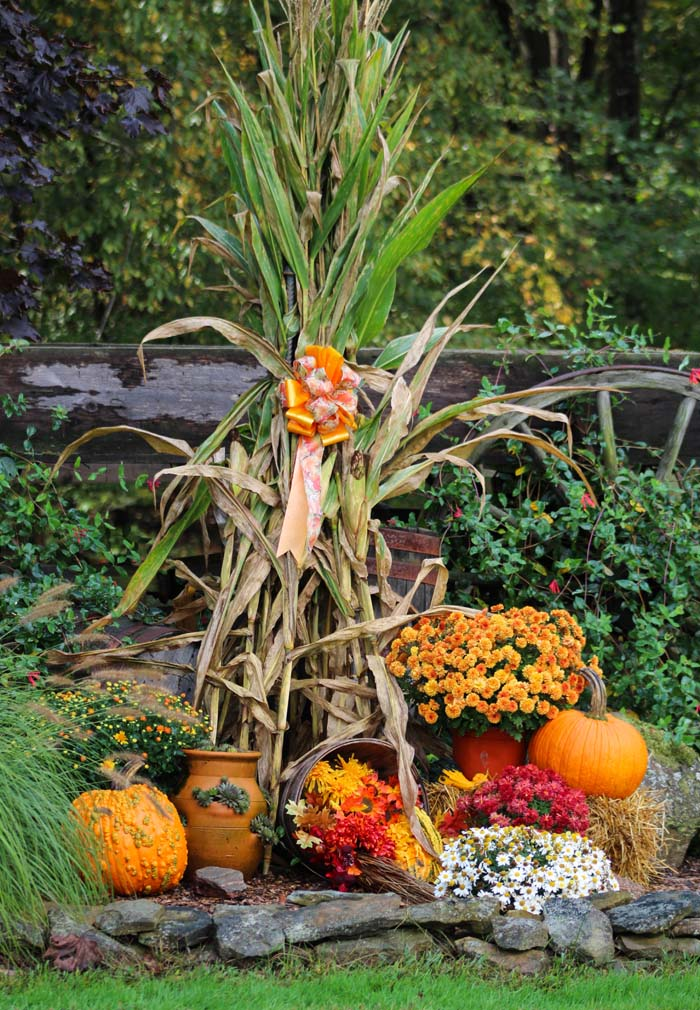 Decorate for Fall with Towering Corn Stalks #fall #garden #decoration #decorhomeideas