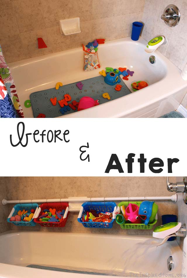DIY Tubside Bath Toy Organizer #dollarstore #storage #organization #decorhomeideas