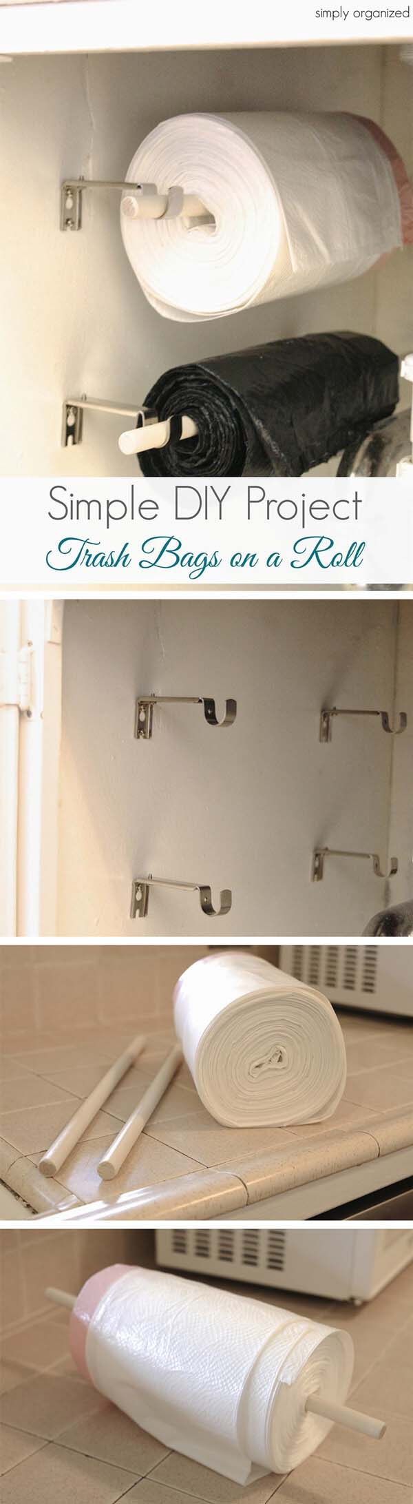 DIY Wall-Mounted Trash Bag Rollers #dollarstore #storage #organization #decorhomeideas