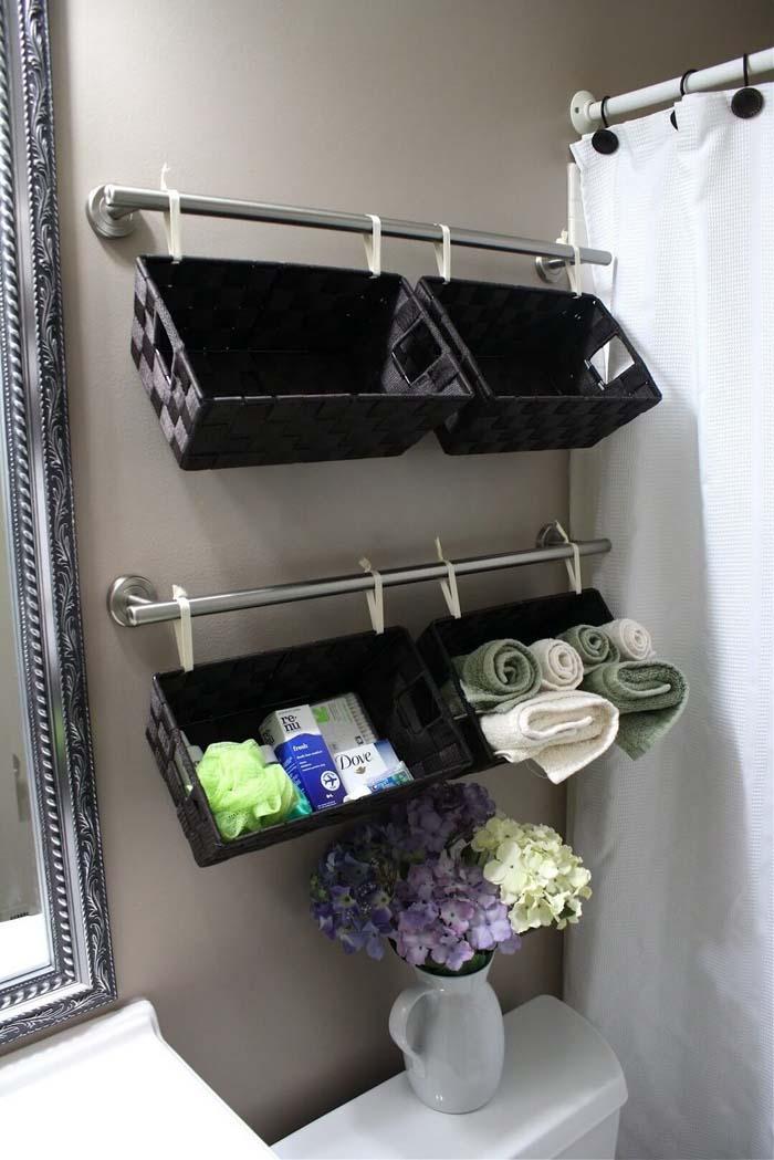 Dollar Store Bathroom Bin Organizing Bars #spacesaving #storage #organization #decorhomeideas