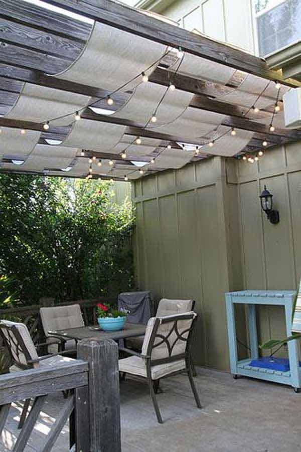 Draped Pergola Lighting plus Fabric Canopies #stringlight #garden #yard #decorhomeideas