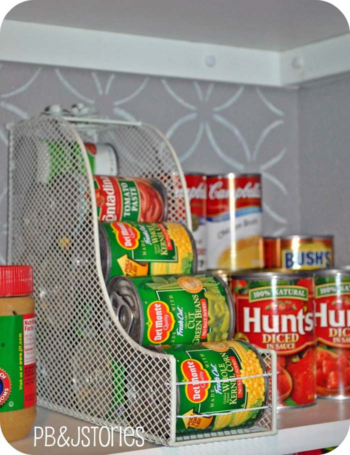 Easy Canned Good Pyramid Dispenser #dollarstore #storage #organization #decorhomeideas