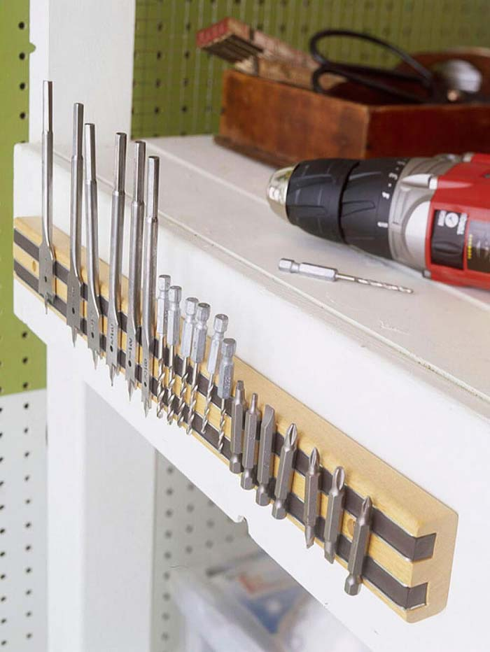 Easy Shelf-Side Magnetic Bit Organizer #garage #organization #declutter #decorhomeideas