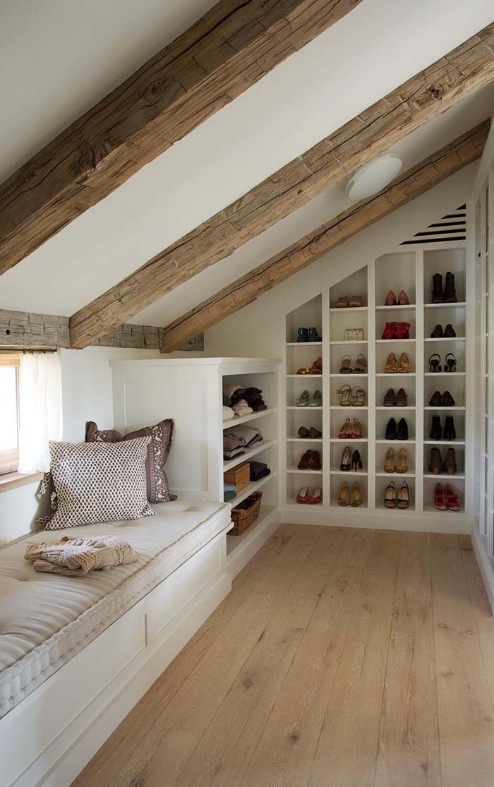 Exposed Beams and Exposed Shoes #spacesaving #storage #organization #decorhomeideas