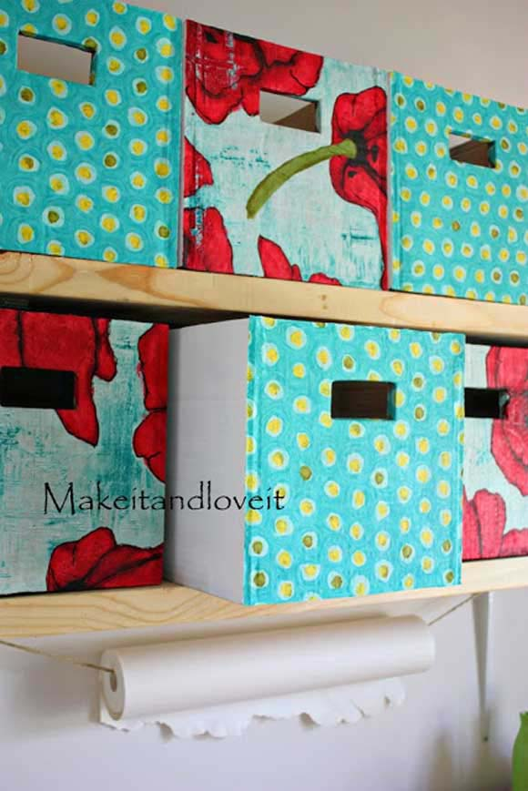 Fabric Bins with Handle Openings #diy #fabric #organizers #storage #decorhomeideas