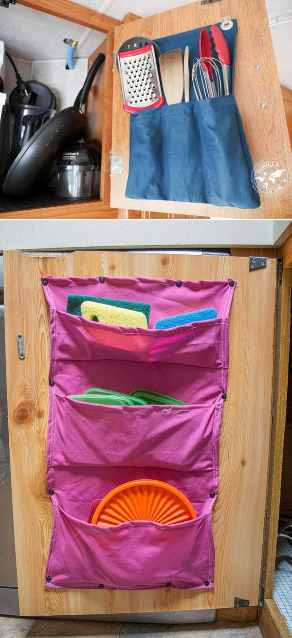 Fabric Pocket Organizers for the Kitchen Cupboard #diy #fabric #organizers #storage #decorhomeideas