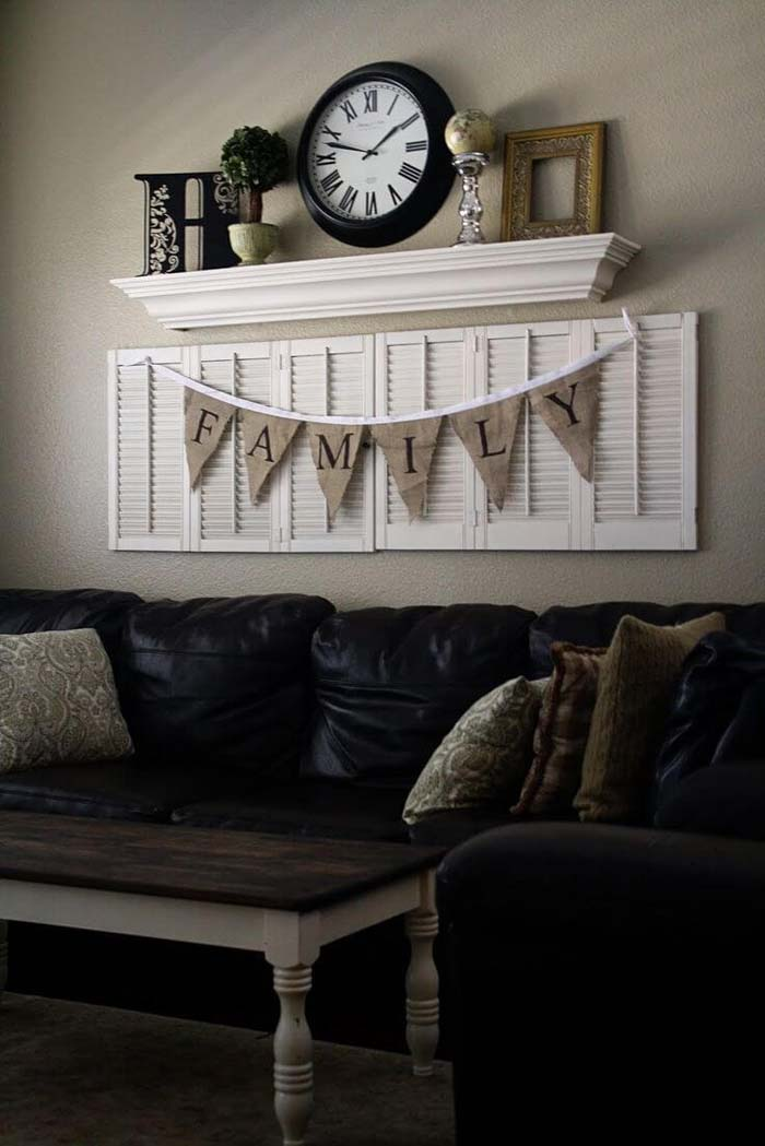 Family Banner on Reclaimed Wood Shutters #rustic #livingroom #walldecor #decorhomeideas