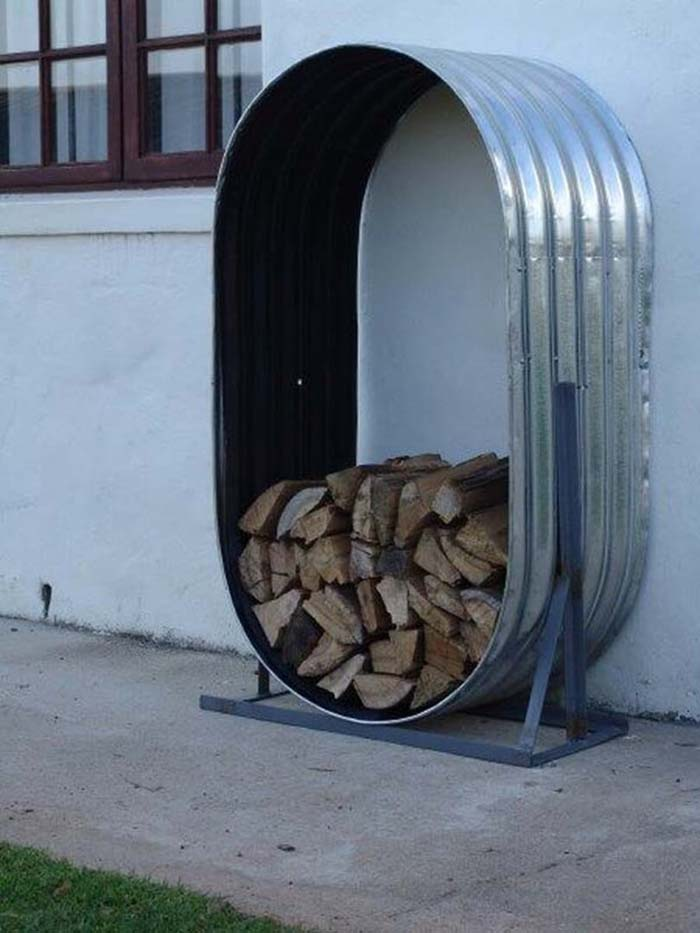 Firewood Stays Organized in Galvanized Tub #galvanized #tub #bucket #decorhomeideas