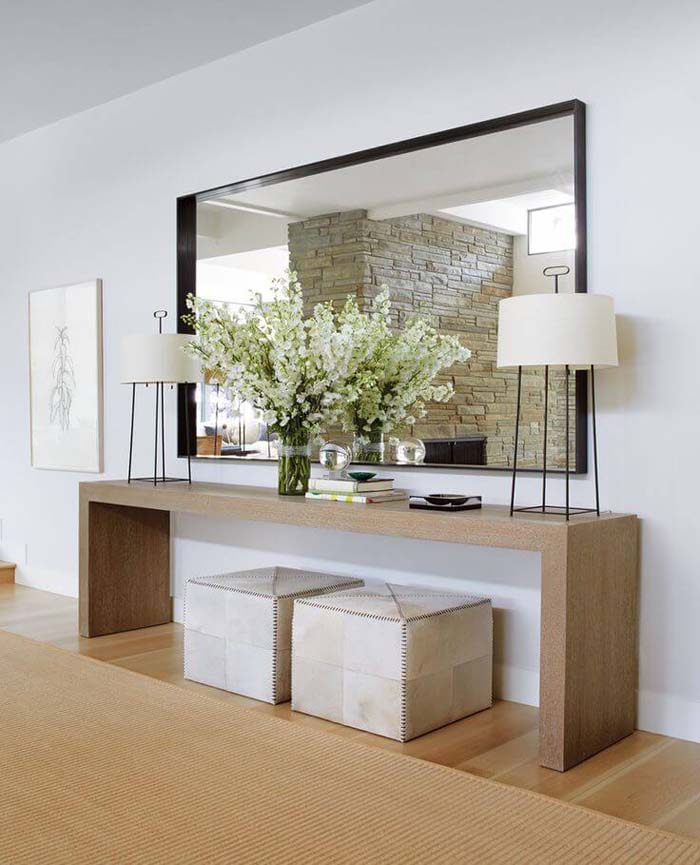 Focal Point Mirror Idea for Large Rooms #mirror #decoration #decorhomeideas