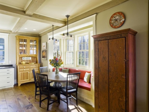 French Country Kitchen Interior With Bench #kitchen #bench #decorhomeideas