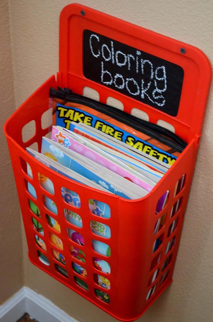 Fun Wall-Mounted Coloring Book Corral #dollarstore #storage #organization #decorhomeideas