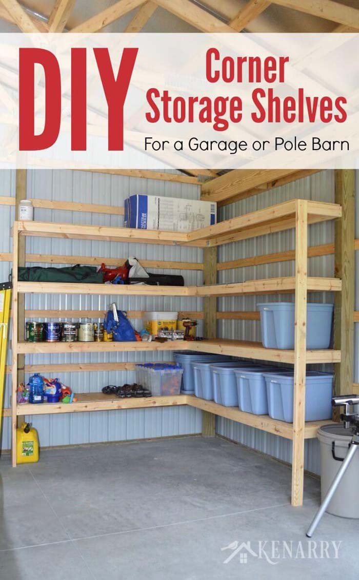 DIY Corner Storage Shelves #garage #organization #declutter #decorhomeideas