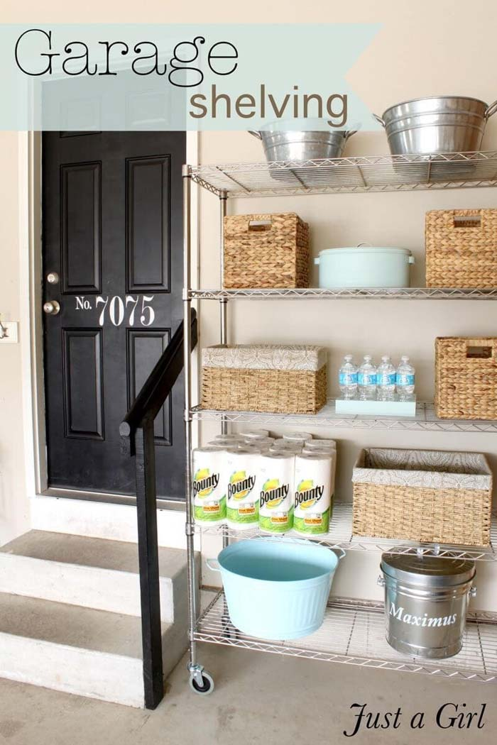 Garage Shelving Can Be Pretty Too #garage #organization #declutter #decorhomeideas