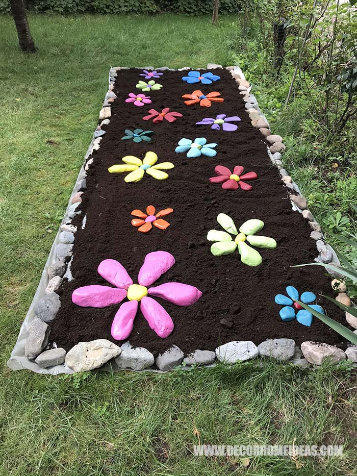 Garden Decor Painted Rock Flowers 7