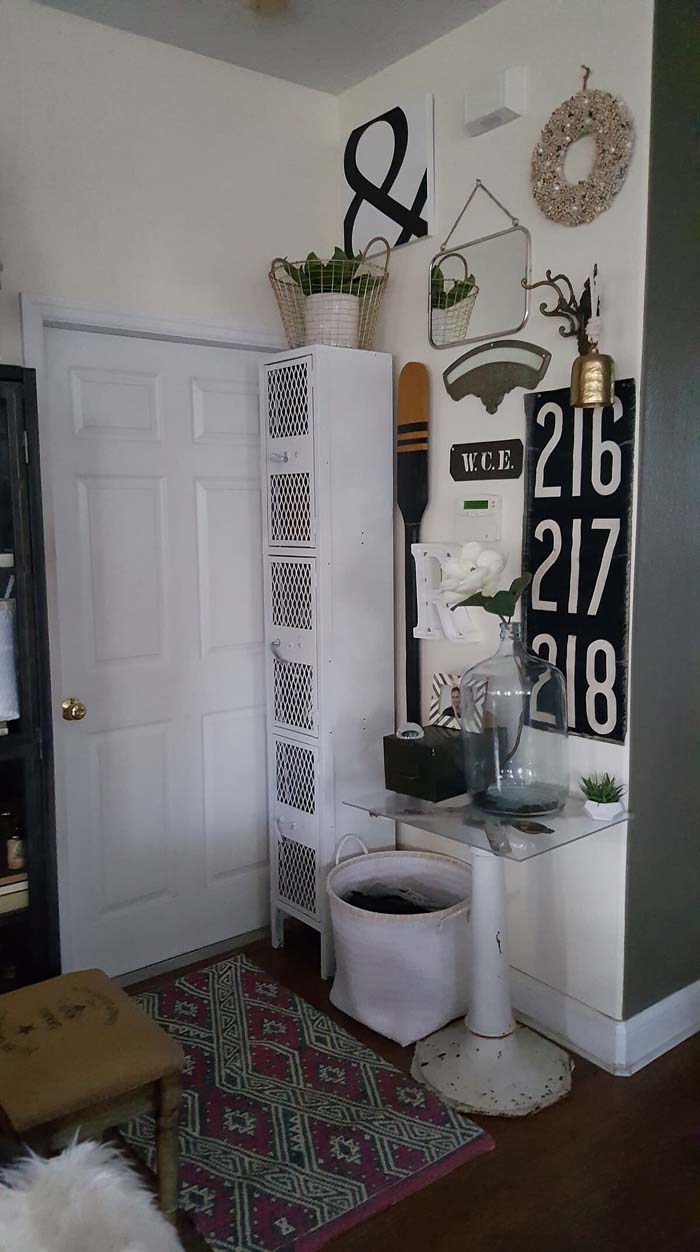 General Store Corner with Antique Signs and Tools #farmhouse #entryway #decor #decorhomeideas