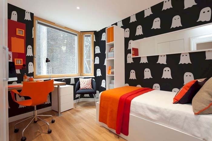 Halloween Wallpaper Kids Bedroom Design #halloween #kidsroom  #nursery #decorhomeideas