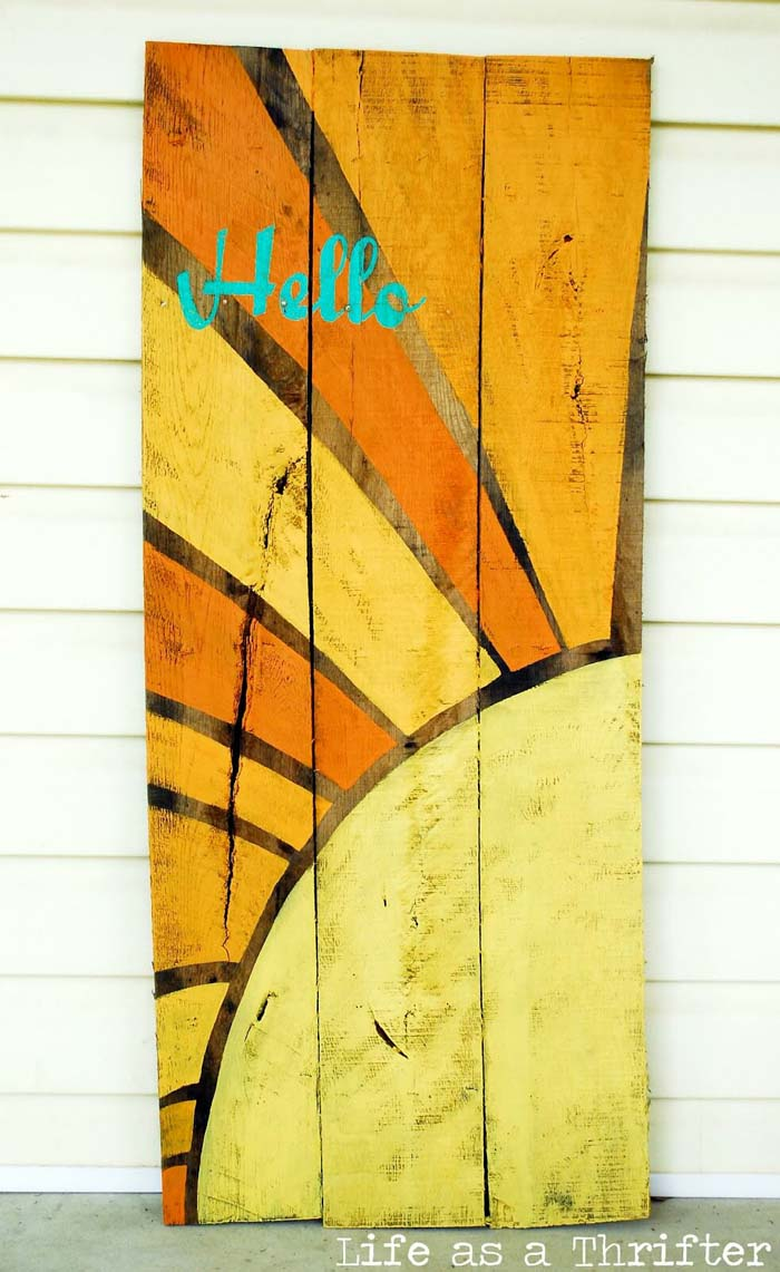 Hello Sunshine Sign #diy #pallet #sign #decorhomeideas