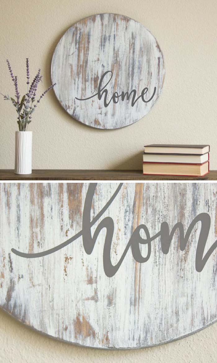 Home Sign on Distressed Wood Circle #rustic #livingroom #walldecor #decorhomeideas