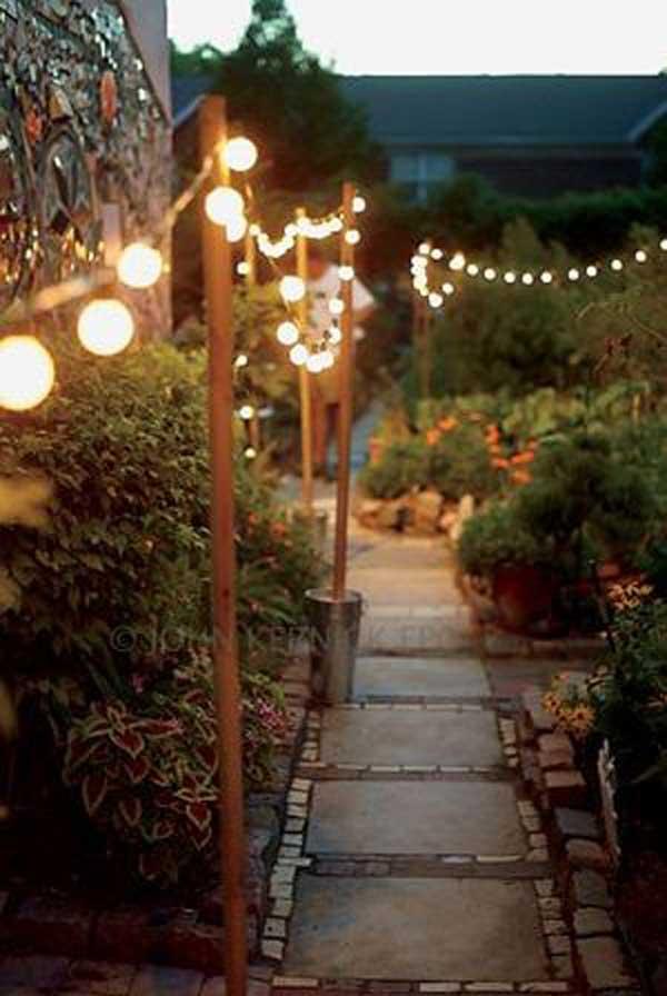 Illuminate a Magical Garden Pathway #stringlight #garden #yard #decorhomeideas