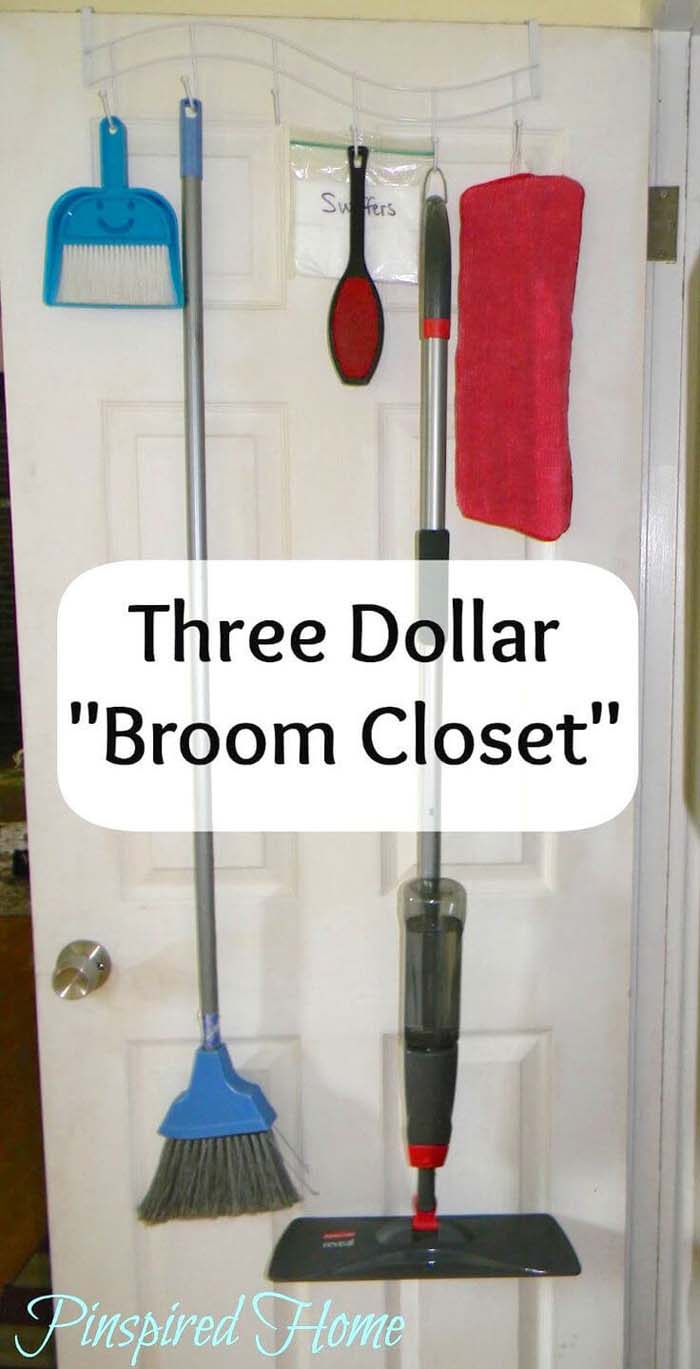 Instant in-the-door Broom Closet Idea #dollarstore #storage #organization #decorhomeideas