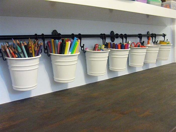 Kids Craft and Coloring Bucket Bar #dollarstore #storage #organization #decorhomeideas
