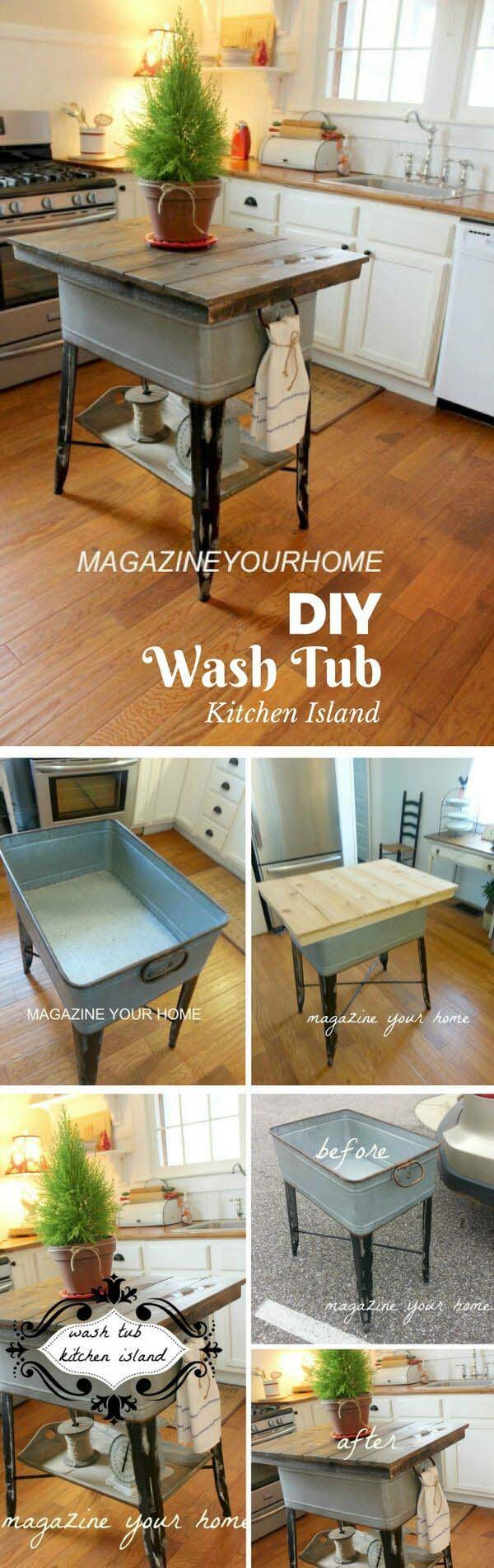 Kitchen Island Made from Wash Tub #galvanized #tub #bucket #decorhomeideas