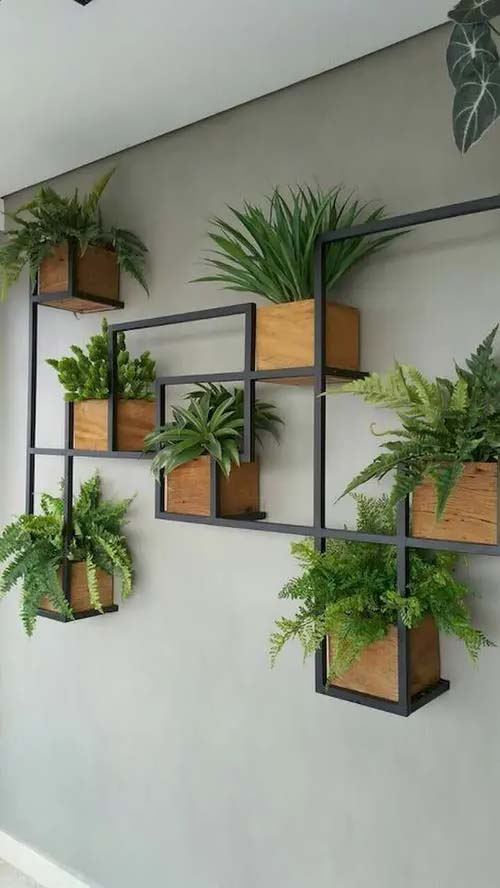 Metal Open-Frame Shelves and Wooden Planters #houseplant #wall #decor #decorhomeideas