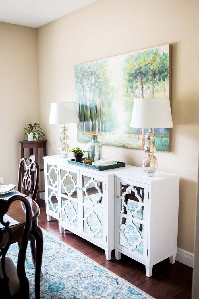 Mod and Mirrored Buffet Makeover #diningroom #storage #decorhomeideas
