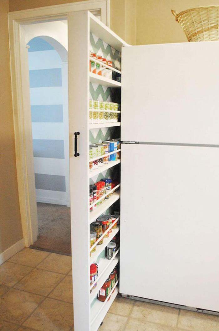 Murphy Bed Inspired Rollout Pantry Concept #spacesaving #storage #organization #decorhomeideas