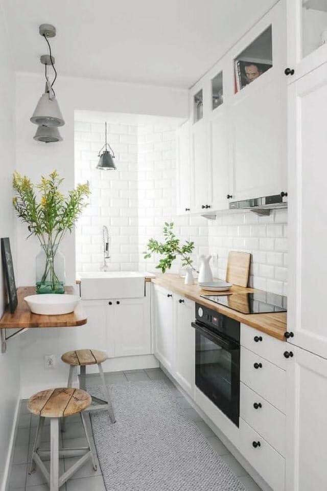 Natural Light and White Brightens Narrow Space #small #kitchen #design #decorhomeideas