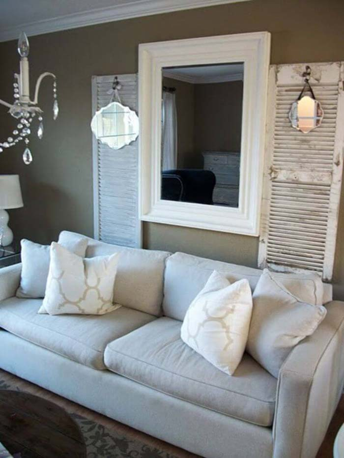 Old Shutters with Small Mismatched Mirrors #rustic #livingroom #walldecor #decorhomeideas