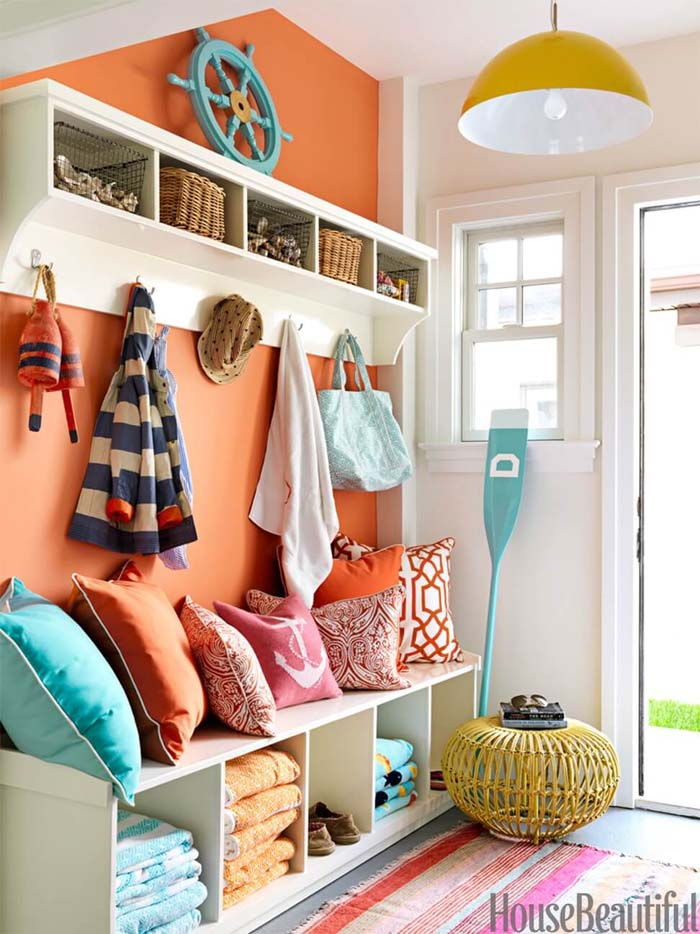 Orange Accent Wall #storage #mudroom #organization #decorhomeideas