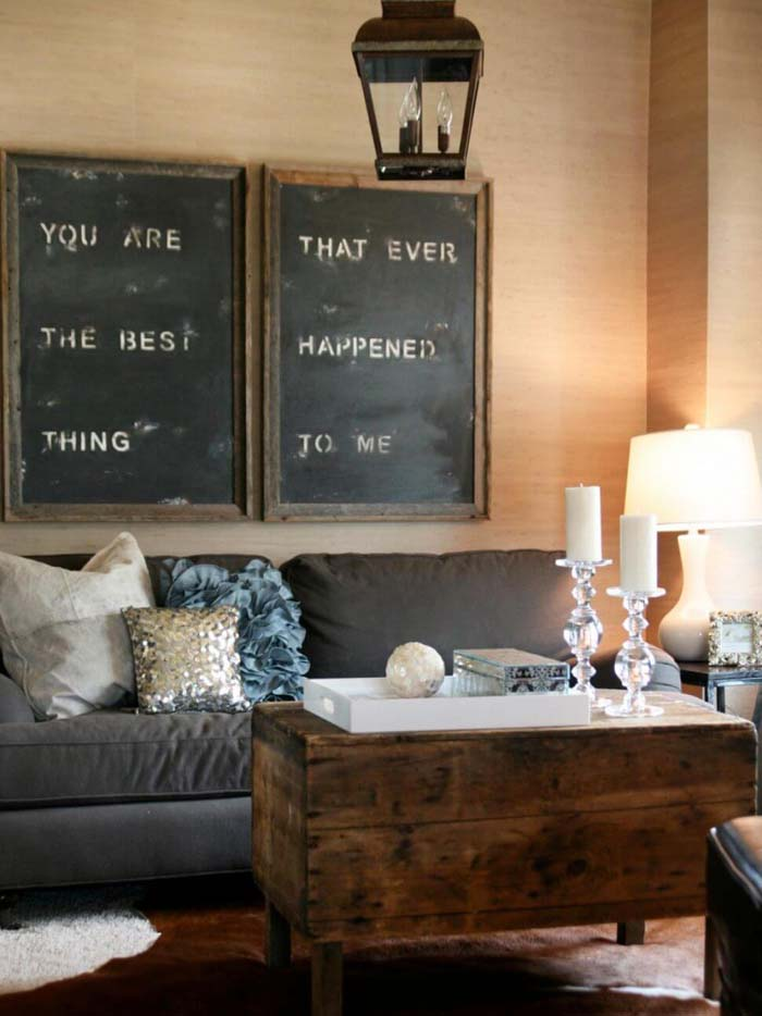 Oversized Stenciled Signs Over the Sofa #rustic #livingroom #walldecor #decorhomeideas